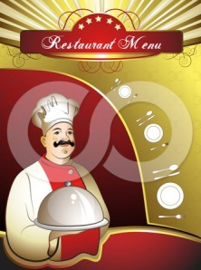 1104489-Clipart-Restaurant-Dining-Menu-Template-With-A-Chef-Silverware-And-Plates-Royalty-Free-Vector-Illustration